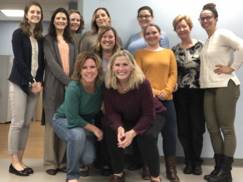 WAMDA Board of Directors, 2019-20.  Shown L-R, Back row: Lauren S., Marissa C., Jessica M., Melanie W., Amanda A., Mary R., Nicole C.; Second row: Andrea M., Ashley W.; Front row: Nicole M., Anne M. (Not pictured: Colleen M., Lauren G., Elizabeth D., Carolyn S., Lauren C., Marla P., Allison C., Eliana L., Rita L.)
