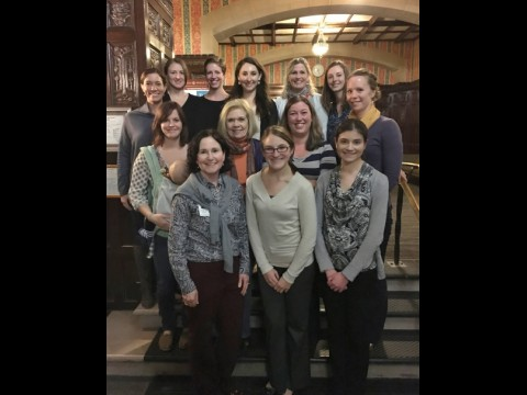 WAMDA Board, 2015-16.  Shown L-R, Back row: Kathryn, Jamie, Rachel, Eliana, Anne, Allison C., Jessica; Middle row: Shannon, Judy, Andrea; Front row: Paula, Jennifer, and Elyse.